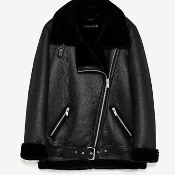 31336ae76 Oversized Faux Leather Shearling Biker Jacket NWT